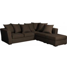 Canapé d'angle modulable tissu coton brun accoudoirs évasés