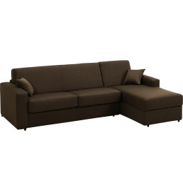 Canapé d'angle rapido convertible SAFIRA tissu chocolat