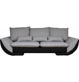 Canapé design 3 places bicolore simili cuir noir et tissu gris
