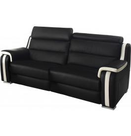 Canapé fixe 2 places cuir noir et blanc