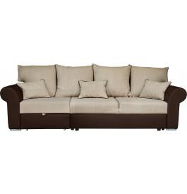Canapé modulable convertible 3 places simili cuir brun et tissu crème
