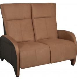 Canapé relaxation manuel 2 places microfibre et PU brun