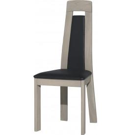 Chaise AMBRE chêne massif gris argent tapissée simili cuir noir