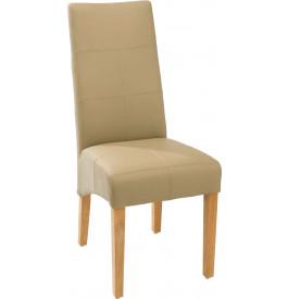 Chaise ELOISE PU beige assise et dossier avec coutures décoratives
