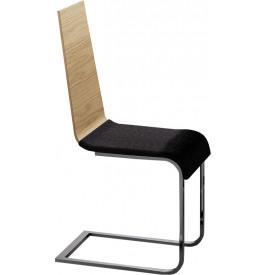 Chaise S design chêne naturel assise tapissée noir (x2)