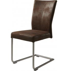 Chaise S design tapissée microfibre vieillie marron pieds acier