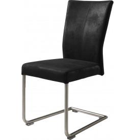 Chaise S design tapissée microfibre vieillie noir pieds acier