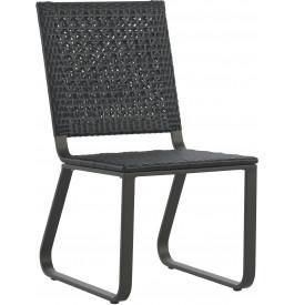 Chaise aluminium gris résine tressée noyer