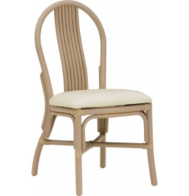 Chaise bistrot rotin taupe assise tapissée