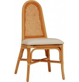 Chaise cannage rotin miel assise tapissée