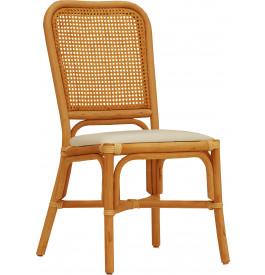 Chaise cannage rotin miel assise tapissée dossier carré