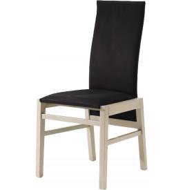 Chaise chêne blanchi dossier haut tapissée tissu noir