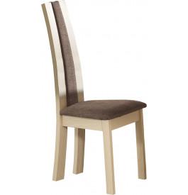 Chaise chêne blanchi dossier haut tapissée tissu taupe