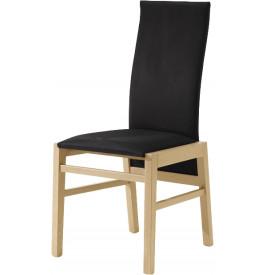 Chaise chêne clair dossier haut tapissée tissu noir