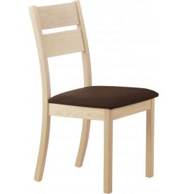 Chaise chêne massif blanchi assise tapissée tissu chocolat