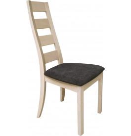 Chaise chêne massif blanchi dos courbé assise tapissée tissu gris