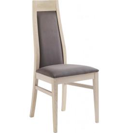 Chaise chêne massif blanchi tapissée tissu chocolat