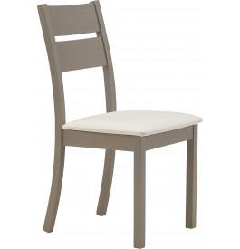 Chaise chêne massif gris assise tapissée tissu blanc