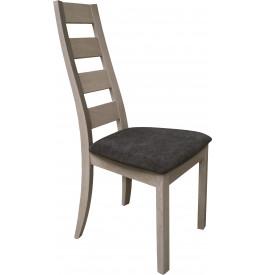 Chaise chêne massif gris dos courbé assise tapissée tissu gris