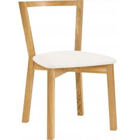 Chaise chêne massif naturel assise tapissée blanc