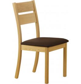 Chaise chêne massif naturel assise tapissée tissu chocolat
