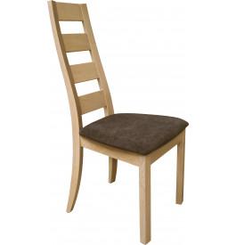 Chaise chêne massif naturel dos courbé assise tapissée tissu chocolat