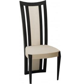 Chaise chêne noir dossier haut assise cuir beige (x2)
