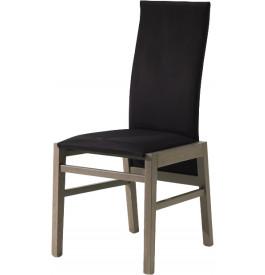 Chaise chêne taupe dossier haut tapissée tissu noir