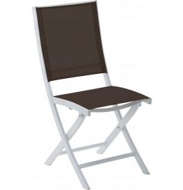 Chaise de jardin pliante aluminium blanc textilène chocolat