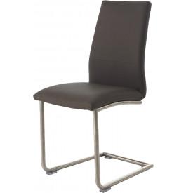 Chaise design PU gris pieds S en acier