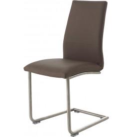 Chaise design PU taupe pieds S en acier