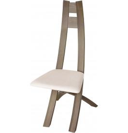 Chaise design hêtre massif gris assise tapissée tissu blanc