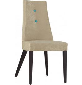Chaise design hêtre massif laqué noir tissu sable