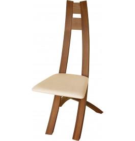 Chaise design hêtre massif teinté merisier assise tapissée tissu ivoire