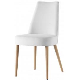 Chaise design hêtre massif tissu blanc (x2)