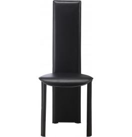 Chaise design simili cuir noir dossier haut