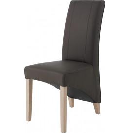 Chaise dossier haut PU gris pieds chêne blanchi
