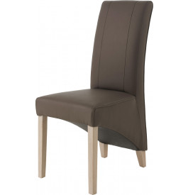 Chaise dossier haut PU taupe pieds chêne blanchi