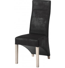 chaise dossier haut microfibre noire pieds ch ne blanchi. Black Bedroom Furniture Sets. Home Design Ideas