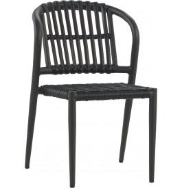 Chaise empilable aluminium gris résine noyer
