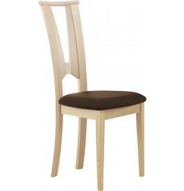 Chaise hêtre massif blanchi dos papillon assise tapissée tissu chocolat