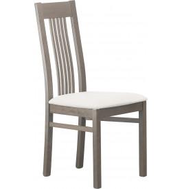 Chaise hêtre massif gris assise tapissée tissu blanc 5 barrettes verticales