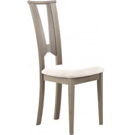 Chaise hêtre massif gris dos papillon assise tapissée tissu blanc