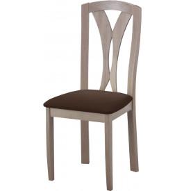 Chaise hêtre massif gris dos sculpté assise tapissée tapissée tissu enduit chocolat