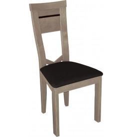 Chaise hêtre massif gris dossier courbé assise tapissée simili cuir noir
