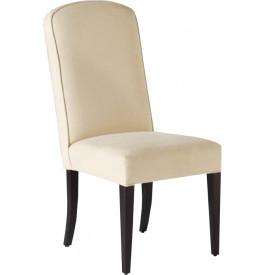 Chaise hêtre massif tapissée blanc cassé pieds droits dossier arrondi