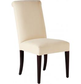 Chaise hêtre massif tapissée blanc cassé pieds droits dossier courbé