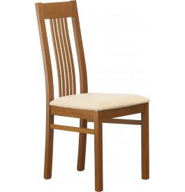 Chaise hêtre massif teinté merisier assise tapissée tissu ivoire 5 barrettes verticales