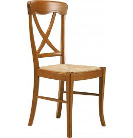 Chaise hêtre massif teinté merisier dos croisé assise paille