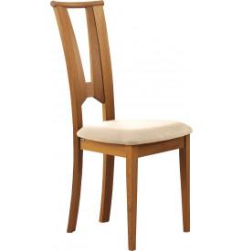 Chaise hêtre massif teinté merisier dos papillon assise tapissée tissu ivoire